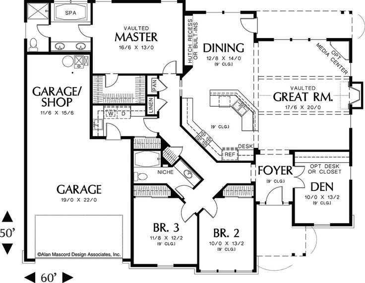 Main Floor Plan   2000 Square Foot Craftsman Home. Craftsman House  PlansCountry ...