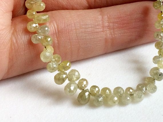 2 Pcs Yellow Diamond Faceted Briolette Beads by gemsforjewels