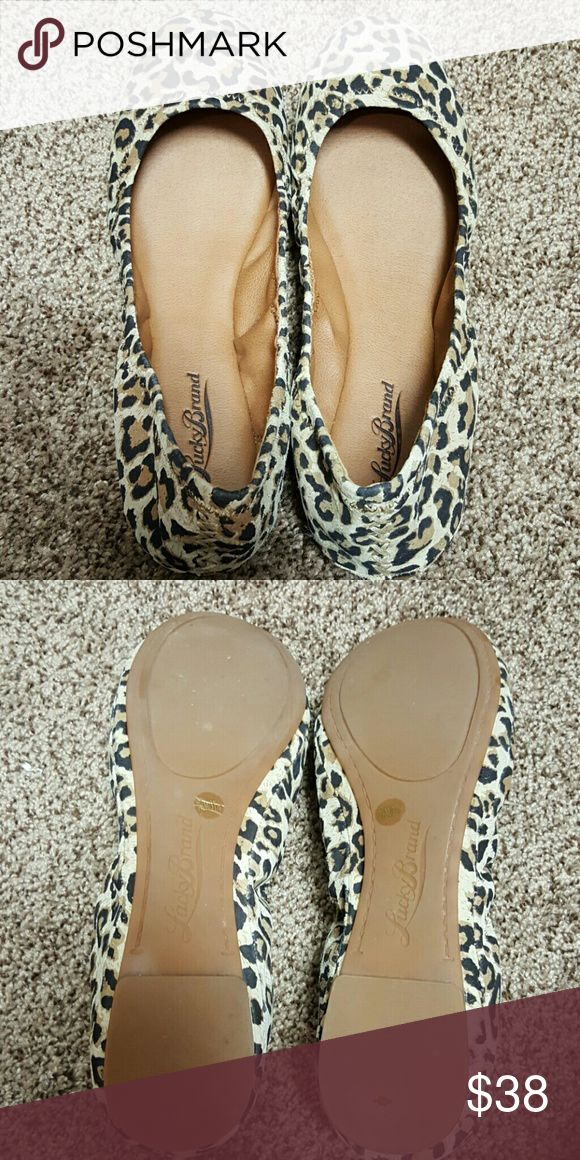 Lucky Brand Emmie leopard ballet flats size 7.5 Worn once in excellent condition.  Purchased from Dillard's. Lucky Brand Shoes Flats & Loafers