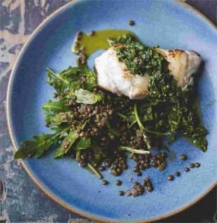 Cod with Lentils, Rocket and Salsa Verde