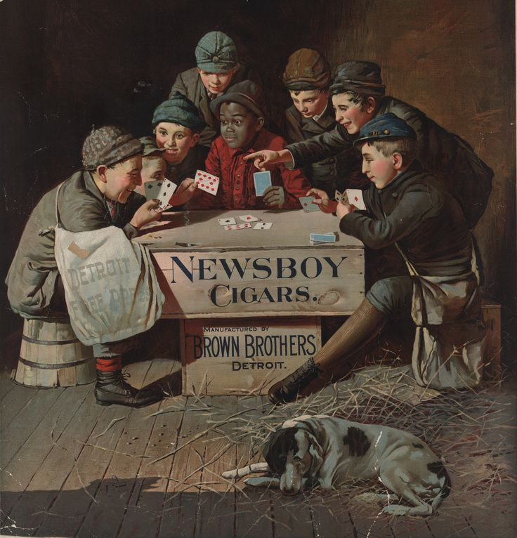 Advertisement for Brown Brothers of Detroit, showing young boys, some newspaper carriers, playing cards and smoking, using a Newsboy Cigars crate as a table. One boy's bag reads, Detroit Free Press.