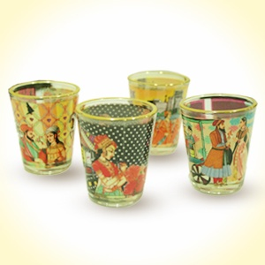 Mughal-e-Awzome Shot Glasses with golden rim   MRP - Rs. 399