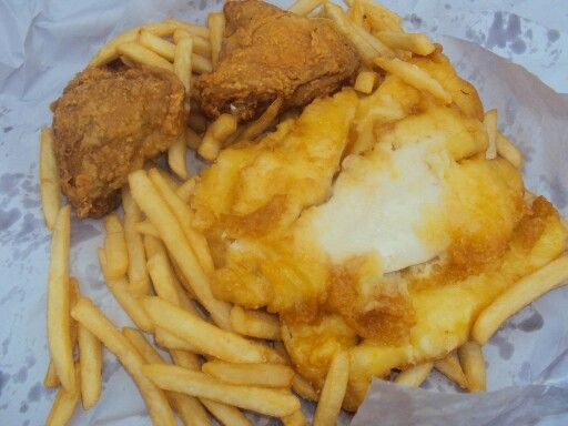 chicken, fish and chips
