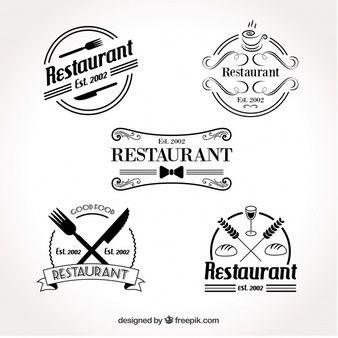 Conjunto de logotipo retro do restaurante