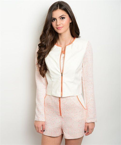 Womens Cream Shorts & Jacket Set