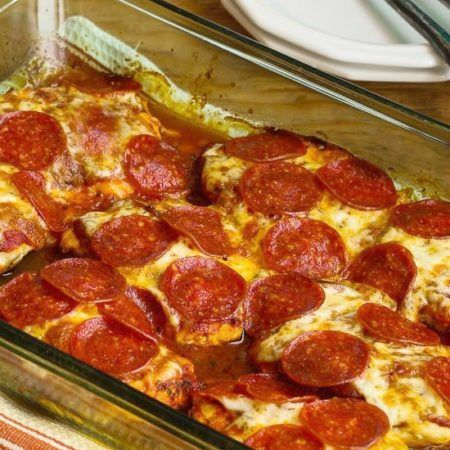 When you need low-carb and gluten-free comfort food, try this Pepperoni Pizza Chicken Bake! Pair with Salad. This is a dinner the whole family will enjoy and it's also Keto.