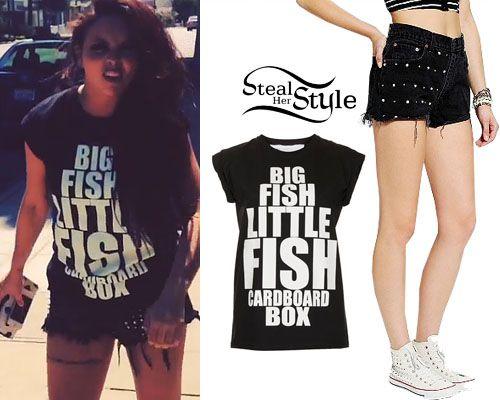 http://stealherstyle.net/2013/08/08/jesy-nelson-big-fish-little-fish-tee-stud-shorts/