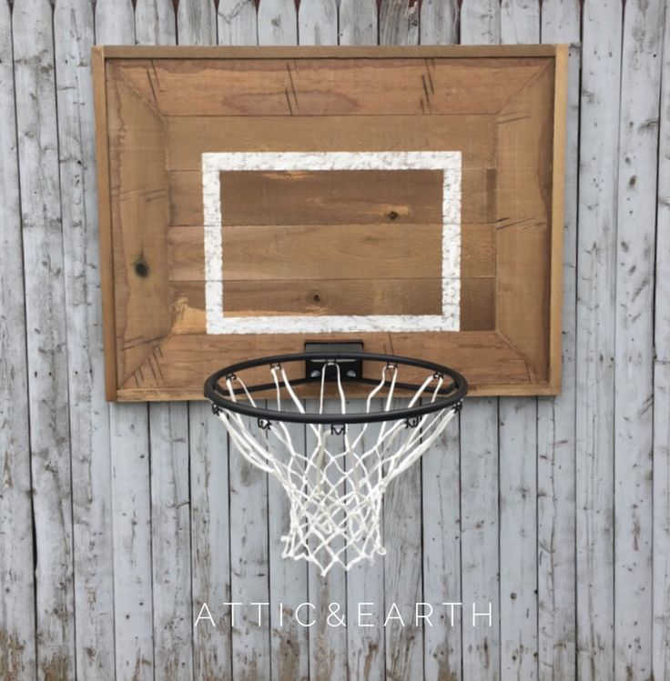 """The backboard measures 42""""x 32"""" and the hoop has an 18"""" rim. The backboard has a rustic appearance. ***Please note shipping is not included in the price, please contact us before purchasing this piece"""