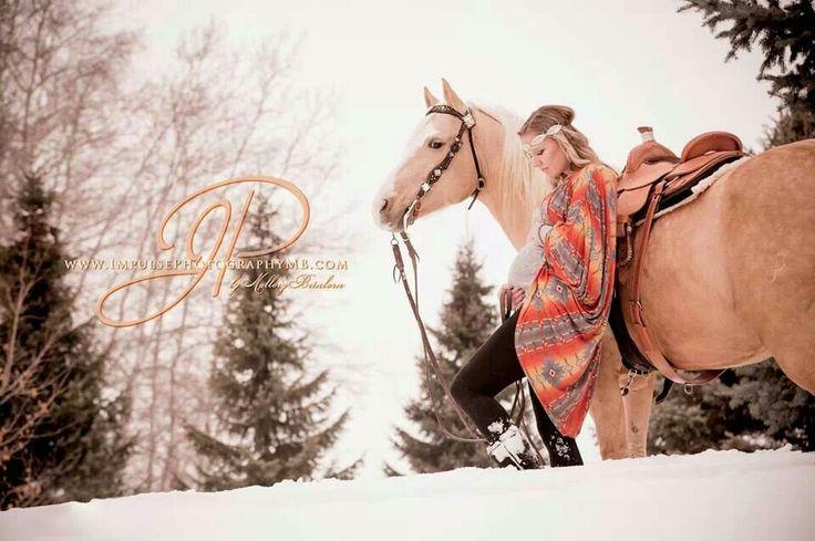 Maternity, horses Palomino hippy Navajo print western roping saddle concho snow winter