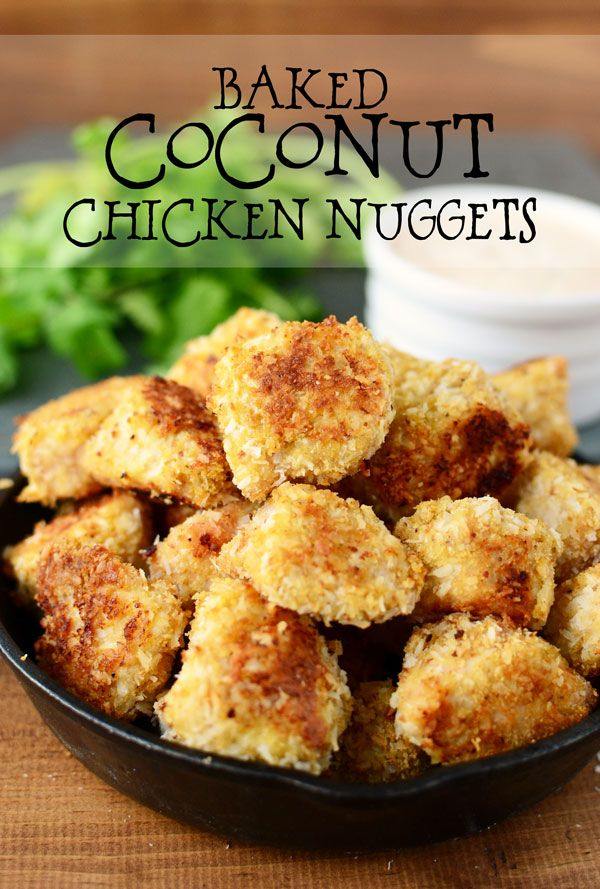 Coconut crusted chicken nuggets are kid-approved! These crunchy nuggets also make a perfect appetizer with a spicy yogurt dipping sauce.