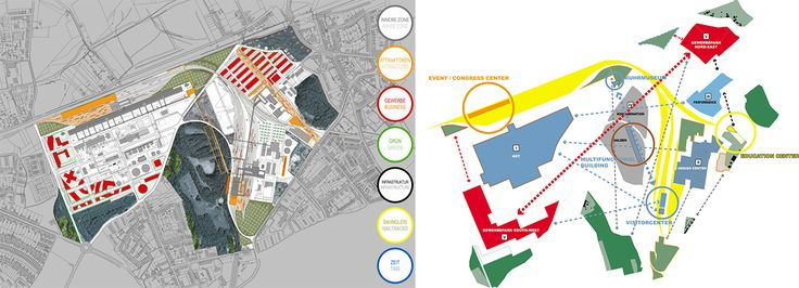 Masterplan and program of Zeche Zollverein by OMA. Image © OMA, Office for Metropolitan Architecture. Click above to see larger image.