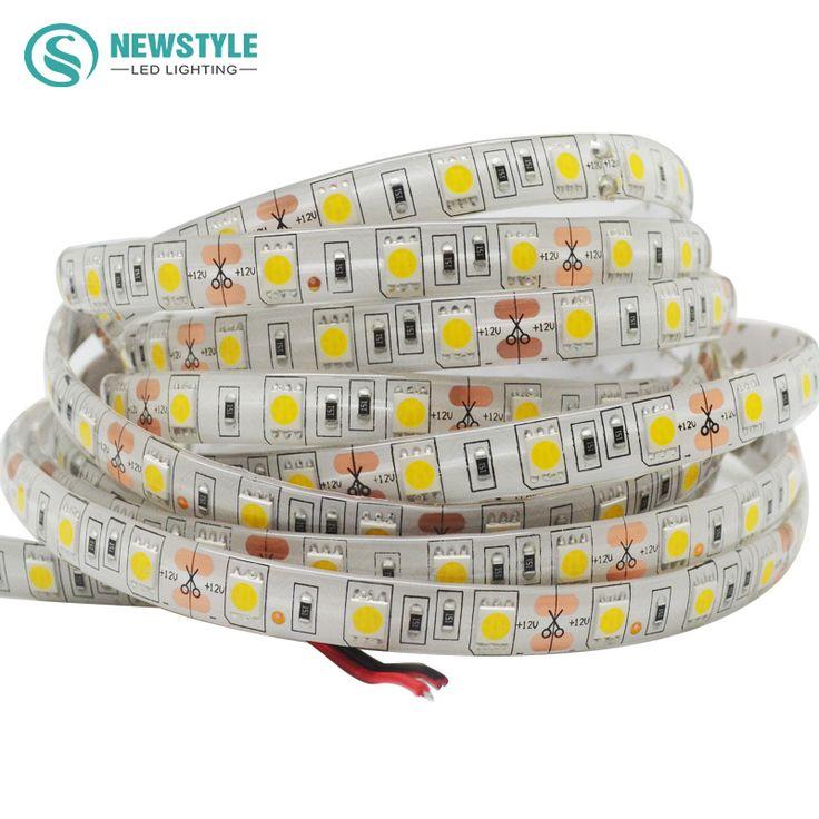 5メートル/ロールsmd 5050防水ledストリップ柔軟なライト60led/m dc 12ボルトホワイト/暖かい白/赤/緑/青/rgb