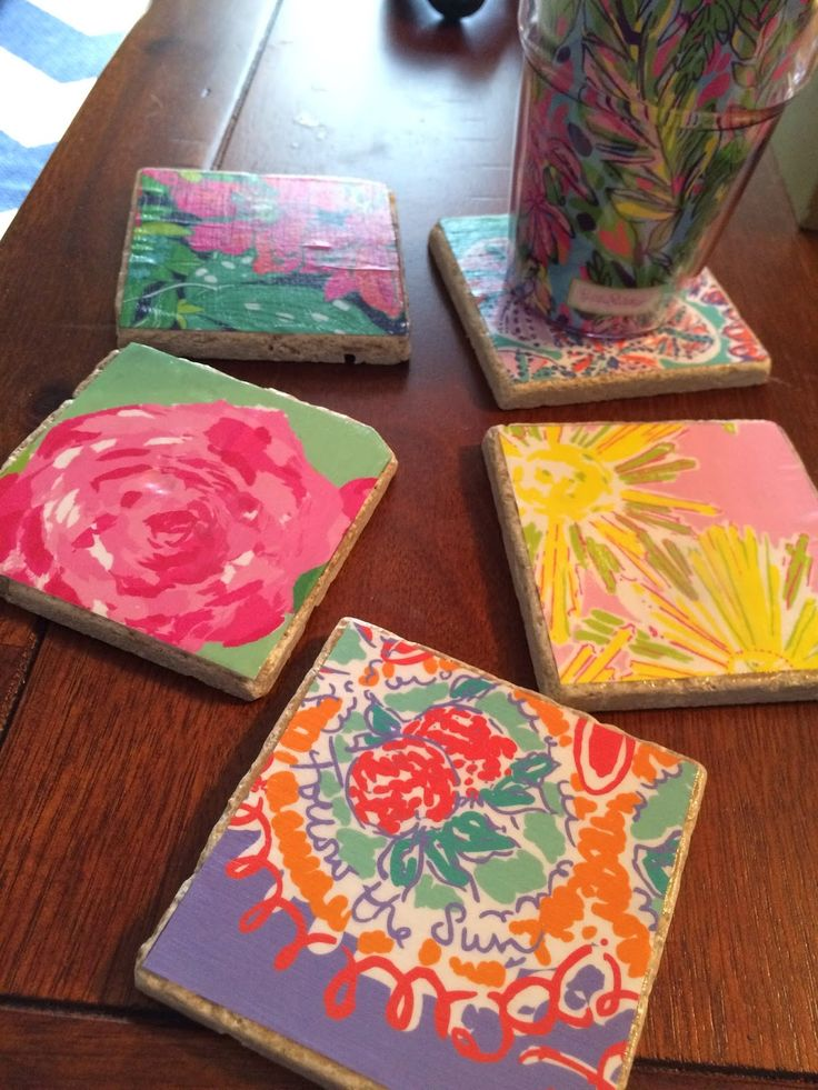DIY Lilly Pulitzer Coasters from old agendas!