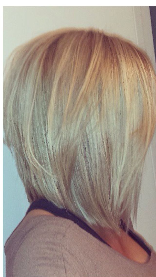 Long angled bob with lots of layers