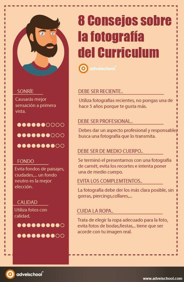 8 consejos sobre la fotografía del Curriculum #infografia #infographic #empleo