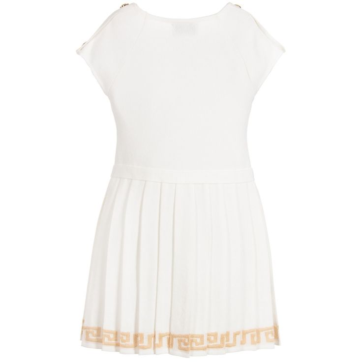 Girls ivory knitted viscose jersey dress from Young Versace. This smart and elegant design has capped sleeves and shoulder straps studded with gold Medusa head badges. There is a central waistband with a Medusa head badge and the pleated skirt has a hem woven with a gold Greek fret design.
