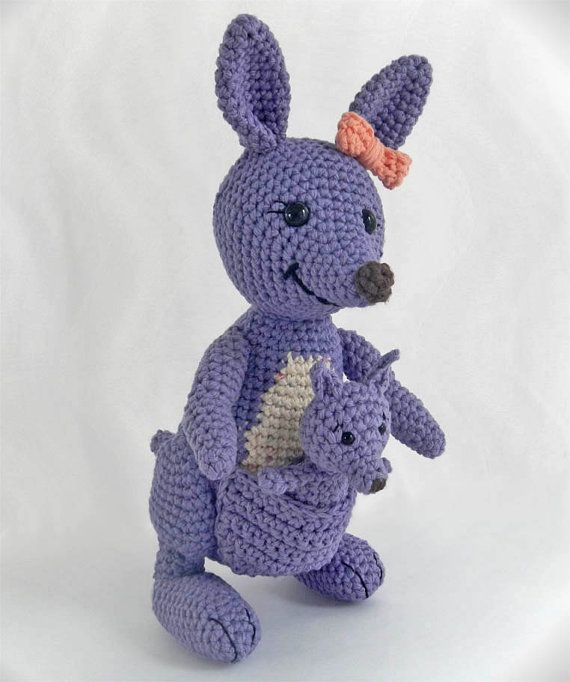 Amigurumi Pattern for Crochet Toy Kangaroo and Baby Joey, PDF Instant Download via Etsy