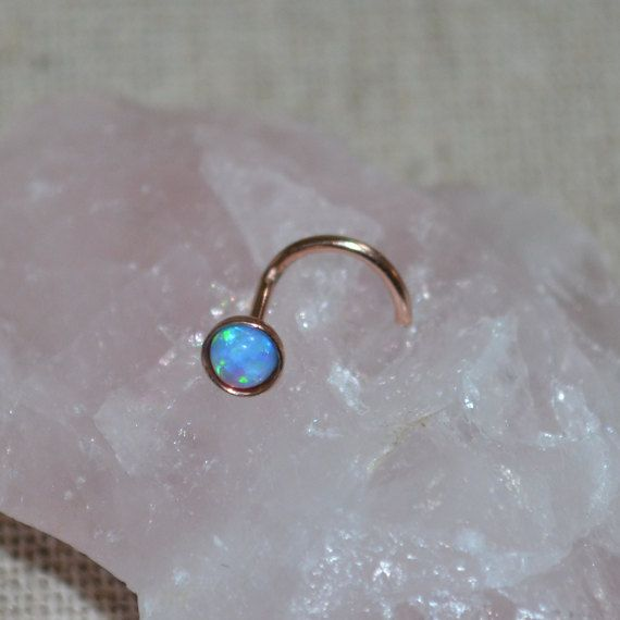 14k Rose Gold Filled 3mm Blue Opal Nose Stud,Ring, 16g Extra Small Earring, seamless,tragus,helix,cartilage 16 gauge handcrafted