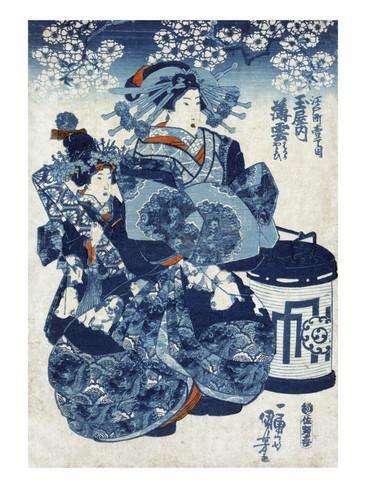 The Courtesan Usugumo of Tamaya, Japanese Wood-Cut Print Julisteet tekijänä Lantern Press AllPosters.fi-sivustossa