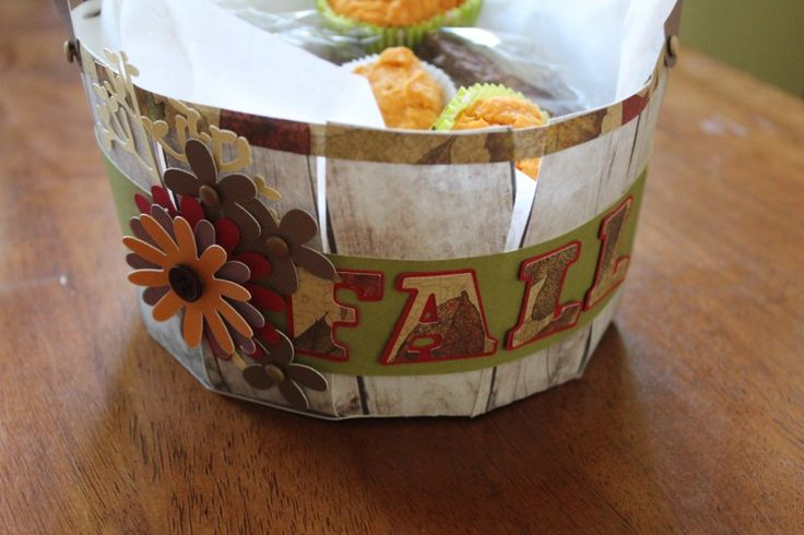 DIY fall gift basket made from paper using the Cricut machine.