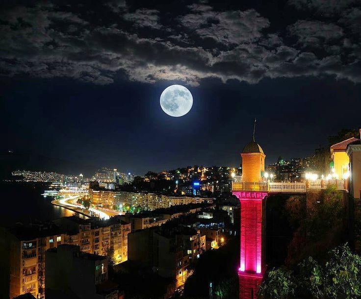✿ ❤ İzmir…Tarihi Asansör…Gece ve ay…. http://angels35.tumblr.com/image/136455845770