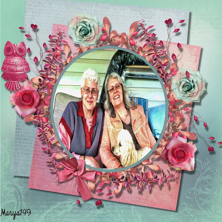 Joan & me..; Wreath made by me from scratch with kit elements...; Precious Memories Llonkas Scrapbook; made by me marya149