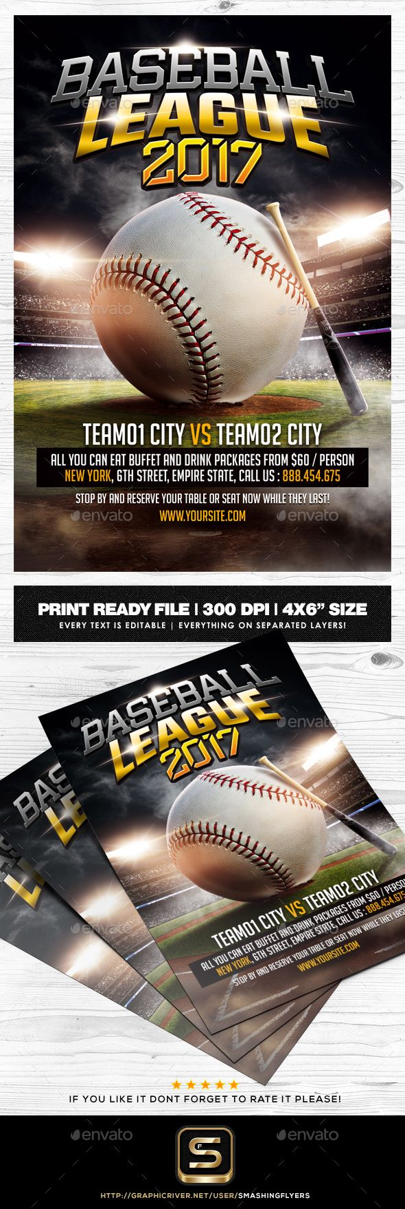 #Baseball #Flyer Template - Sports Events Download here: https://graphicriver.net/item/baseball-flyer-template/19732490?ref=alena994