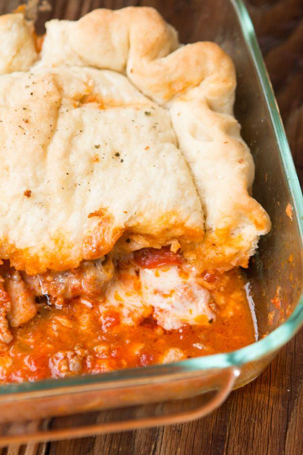 Upside Down Pizza Casserole looks AMAZING ohsweetbasil.com