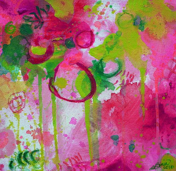 Steal My Breath by Tracy Bonin abstract art, abstract painting, canvas, acrylic, mixed media, pink, green, yellow, purple, home decor, breast cancer awareness, contemporary art, modern art