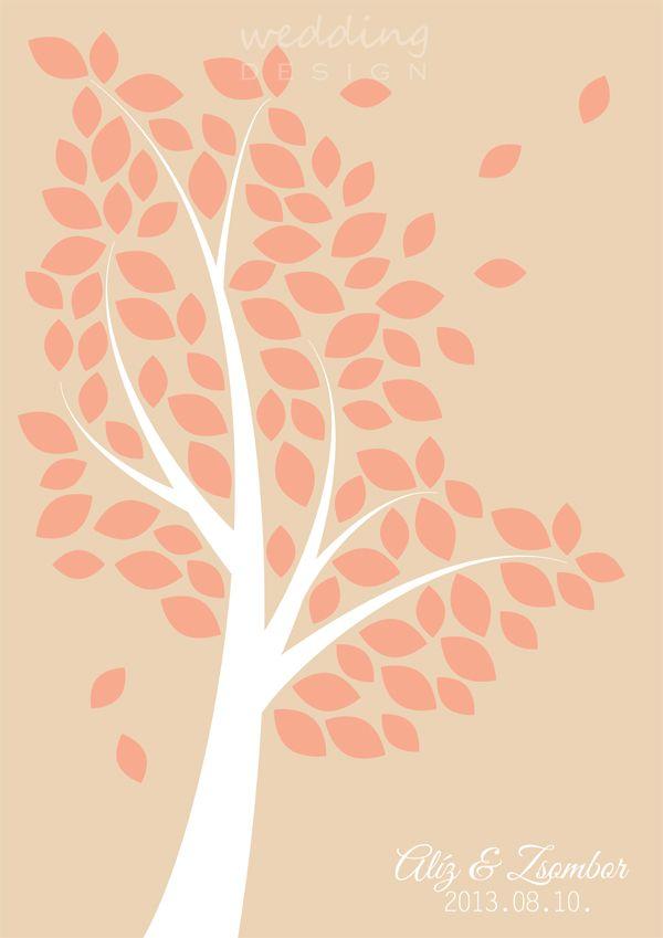 Wedding guest book - Wedding tree - Aláírós emlék plakát Graphic/Grafika: Wedding Design