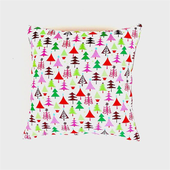 Christmas Cushion Cover. Multicoloured Christmas Trees on White  Cotton Pillow Cover. Christmas Decorations. Xmas Home Decor. 43 / 43 cm