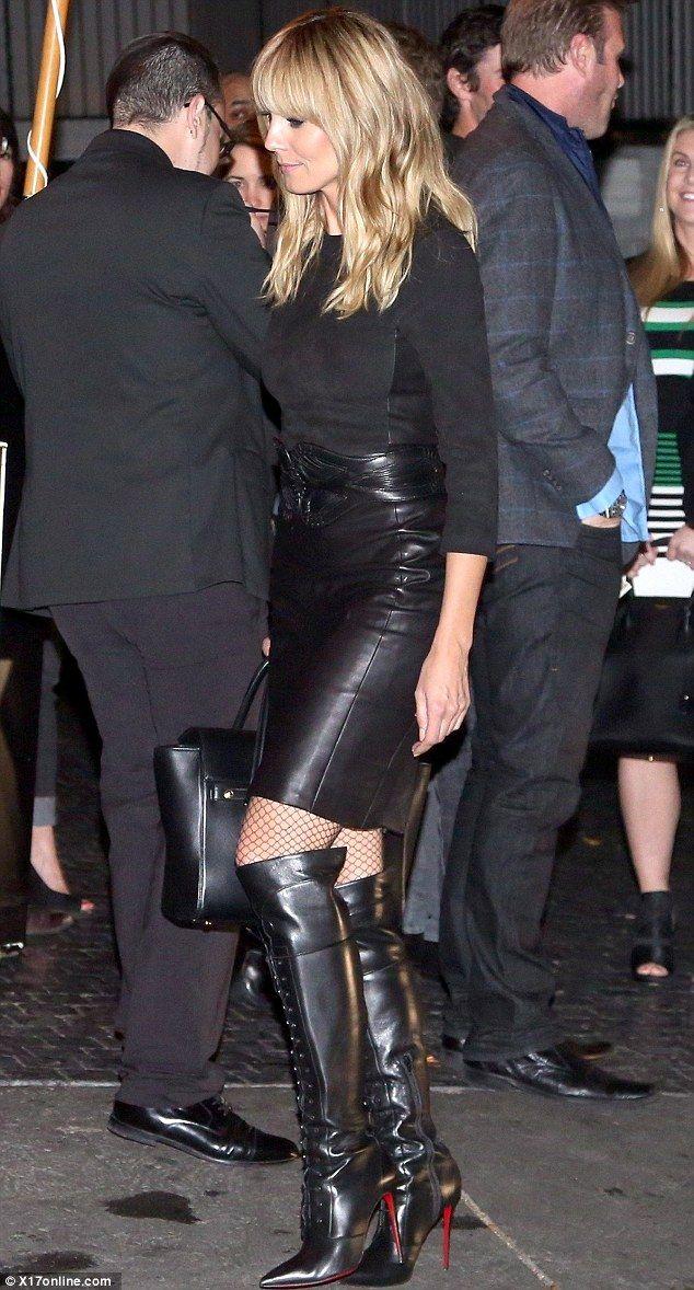 Heidi Klum vamps it up in knee-high leather boots   Heidi Klum ...