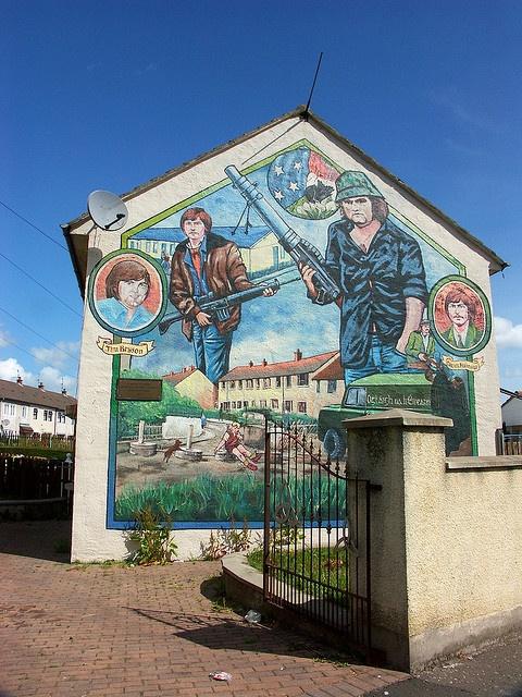 Republican mural in West Belfast, Northern Ireland by yakshini, via Flickr