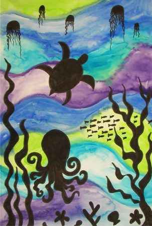 fond marin, néo-pastel ou peinture, + néo noir ou découpage