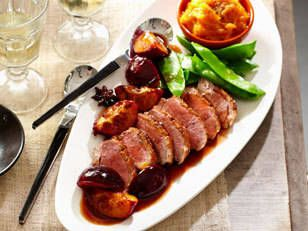 Roast Duck Breast with Quince & Plums #recipe