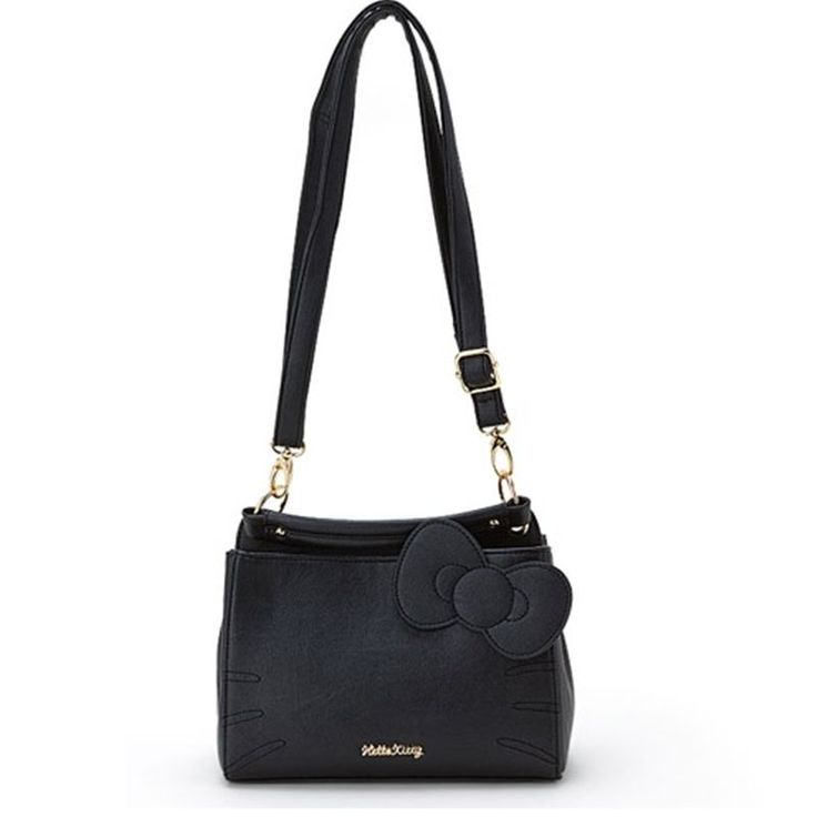 Sanrio Hello Kitty Face Leather Tote Cross Body Bag Two Way Satchel Bag Black
