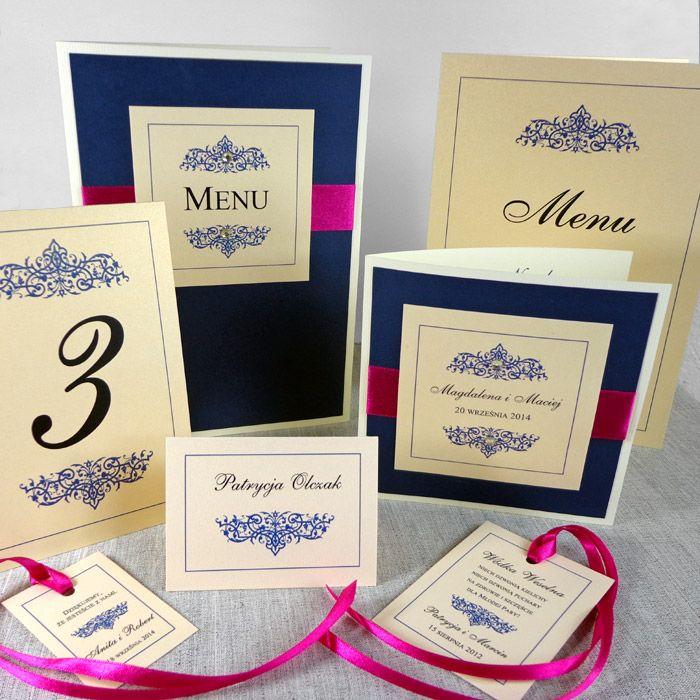 Dla VIPÓW - Passe Partout - Podgląd kolekcji. Eleganckie, oryginalne zaproszenia na ślub. Kolorystyka granatowy, ecru i fuksja