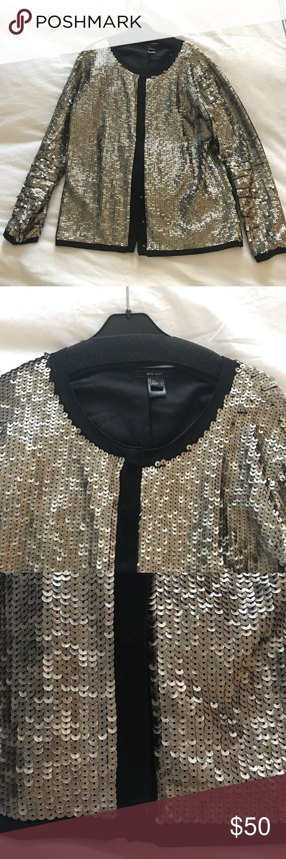 Mango Suit Sequin Jacket - Like new Mango Suit Sequin Jacket. Light gold sequins with black lining and accents. Like new. Only worn once. All sequins intact. Hidden snap closures. Perfect to dress up any outfit. Mango Jackets & Coats Blazers