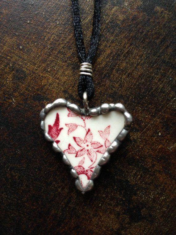 Vintage Broken China Valentine Necklace by Forgetmenotkeepsake, $25.00