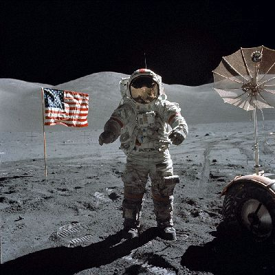 Photograph of Eugene Cernan during Apollo 17, the last man to stand on the Moon