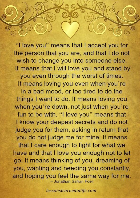 Lessons Learned in Life | What I love you means.