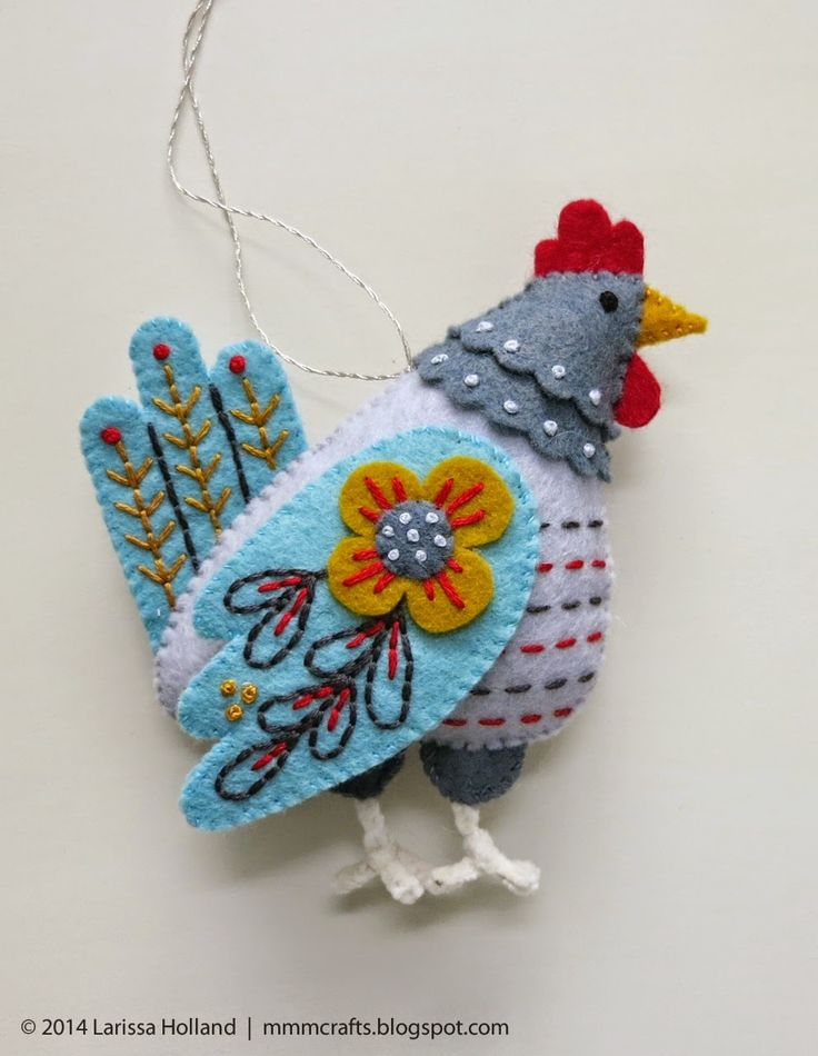 *FELT ART ~ mmmcrafts: French hen ornament