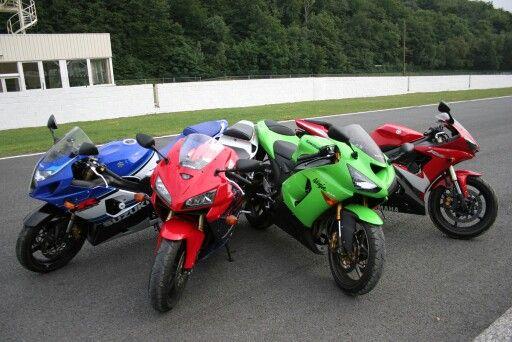 600cc super sport bikes of 2005 - suzuki gsxr, honda cbr600rr, kawasaki zx6r & yamaha r6 - one of them is gonna be my first bike :D