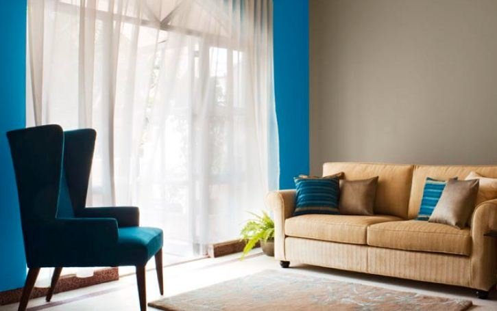 Living Room Feature Wall In Mineral Blue X147 Other Walls