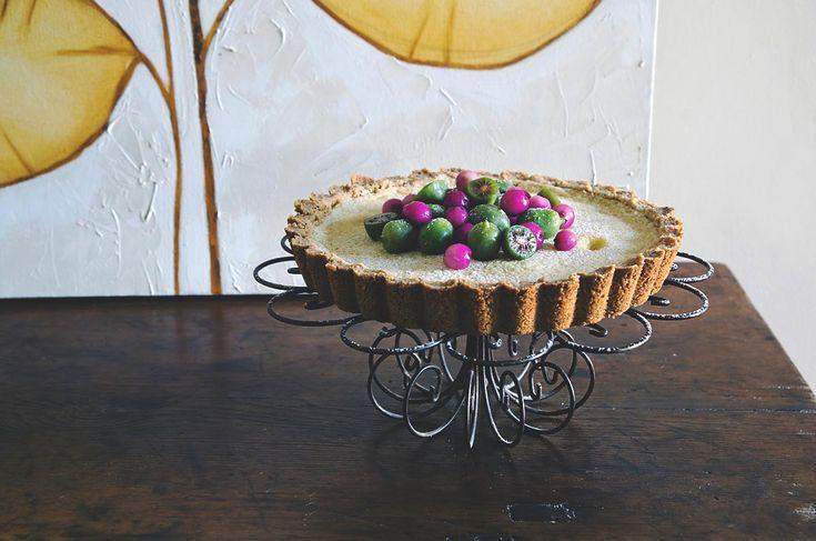White chocolate tart, wattleseed, lilly pilly & kiwi berries…