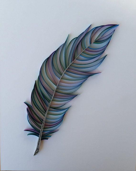 Paper Quilled Feather - Shades of Blue & Purple (If you would like to order in different colours please contact me to make arrangements) This