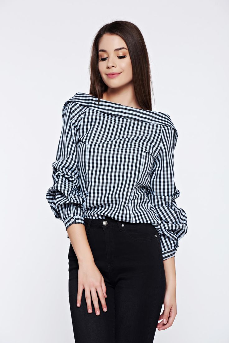 Black casual cotton women`s shirt with long sleeve, women`s shirt, pointed collar, back buttons fastening, cut back, long sleeves, plaid fabric