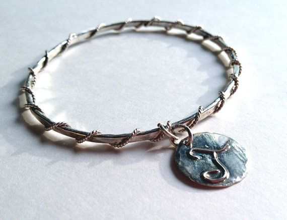 Sterling Bangle Bracelet with charm by Bybella on Etsy, $75.00