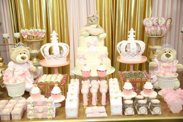 Chá de bebê das ursas princesas: uma festa encantadora e delicada! #festinha