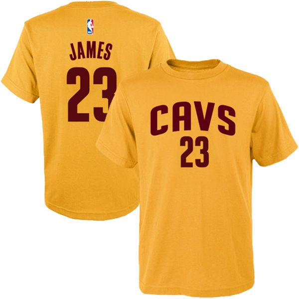 LeBron James Cleveland Cavaliers adidas Youth Game Time Flat Name & Number T-Shirt - Gold - $21.99